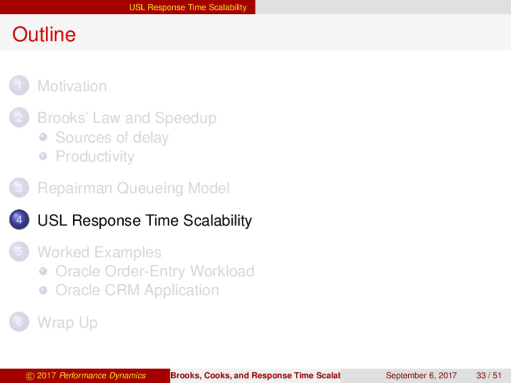 USL Response Time Scalability Outline 1 Motivat...