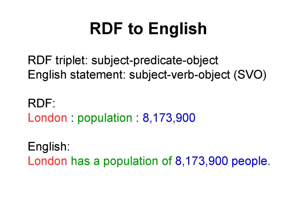 RDF to English l RDF triplet: subject-predicate...