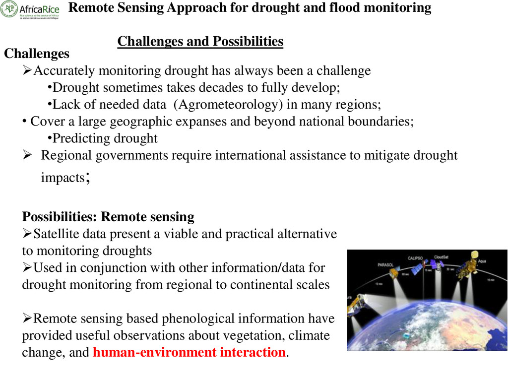 Remote Sensing Approach for drought and flood m...