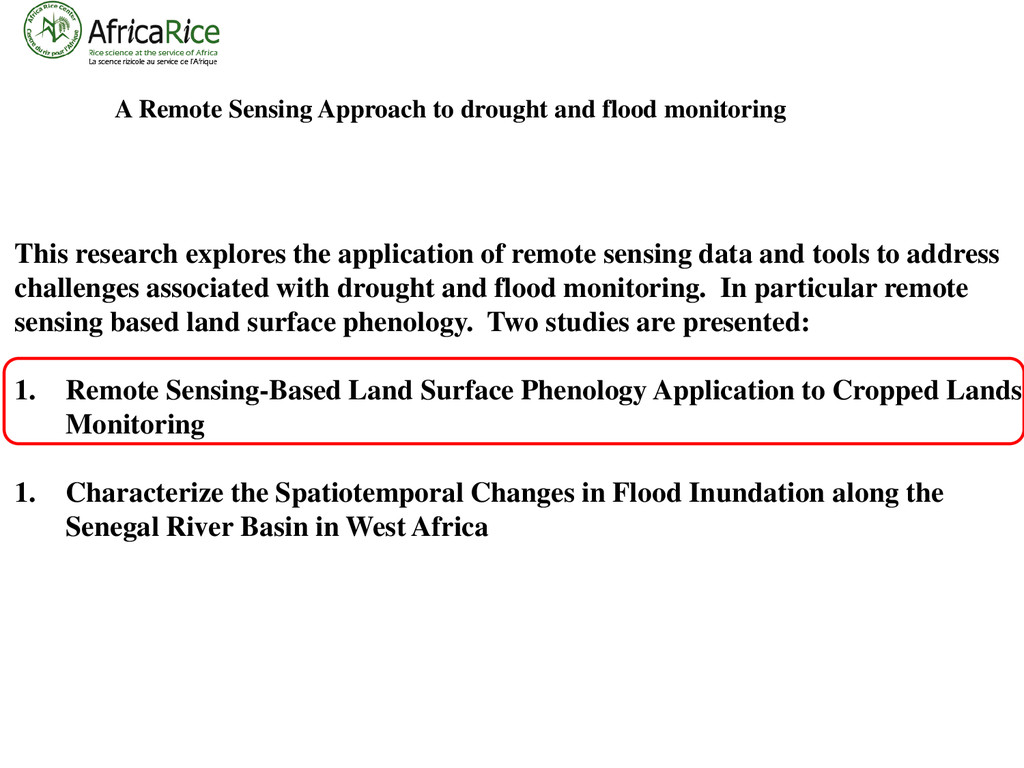 A Remote Sensing Approach to drought and flood ...