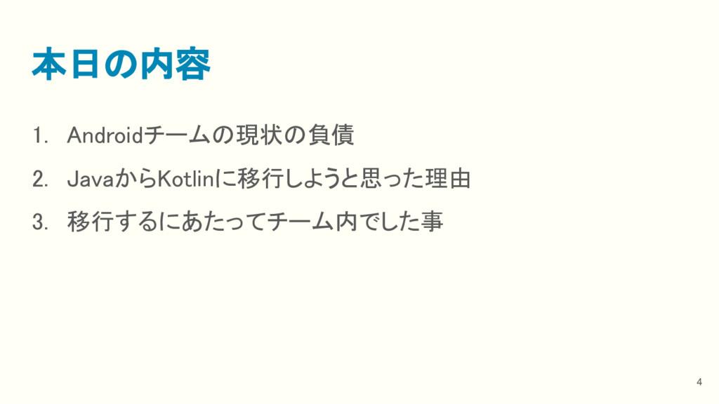 1. Androidチームの現状の負債 2. JavaからKotlinに移行しようと思った理由...