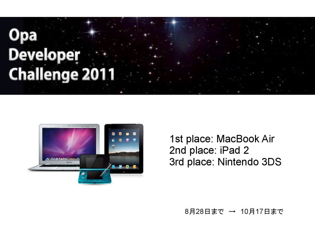 1st place: MacBook Air 2nd place: iPad 2 3rd pl...