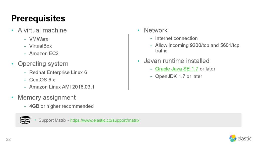 Prerequisites • A virtual machine - VMWare - Vi...