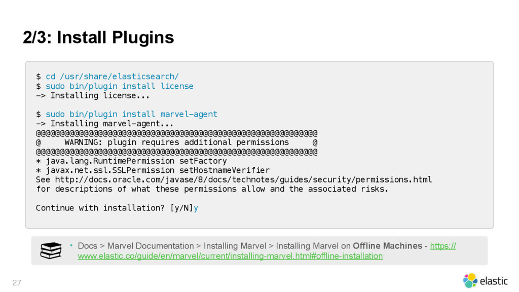 2/3: Install Plugins  $ cd /usr/share/elastic...