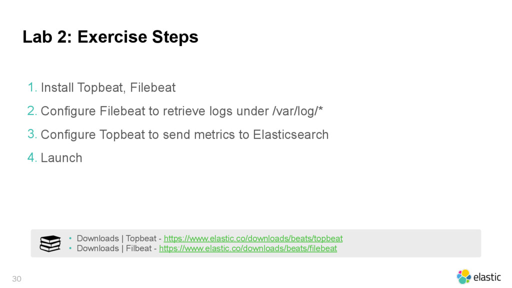 Lab 2: Exercise Steps  1. Install Topbeat, Fi...