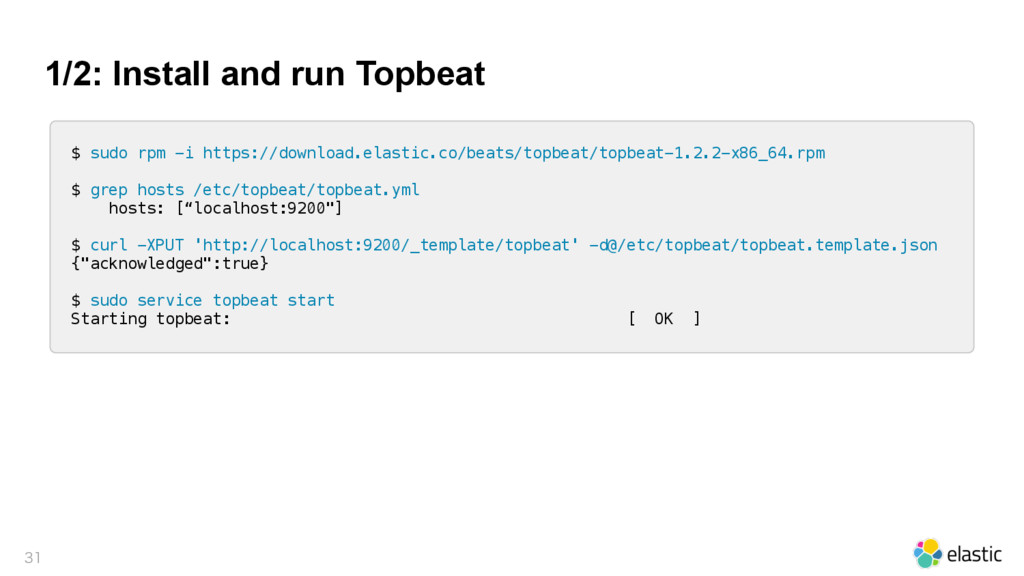 1/2: Install and run Topbeat  $ sudo rpm -i h...