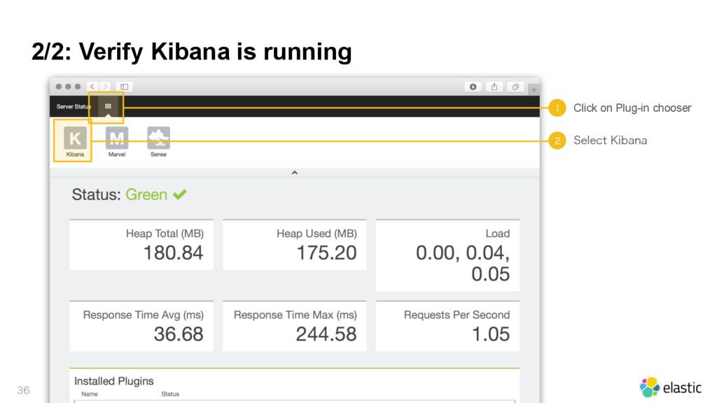 2/2: Verify Kibana is running    Click on P...