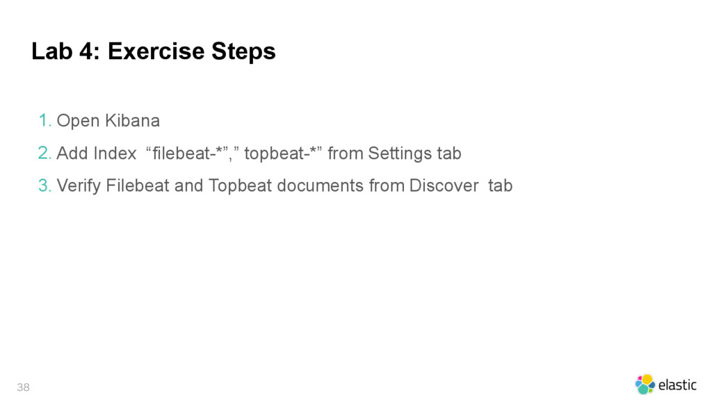 Lab 4: Exercise Steps  1. Open Kibana 2. Add ...