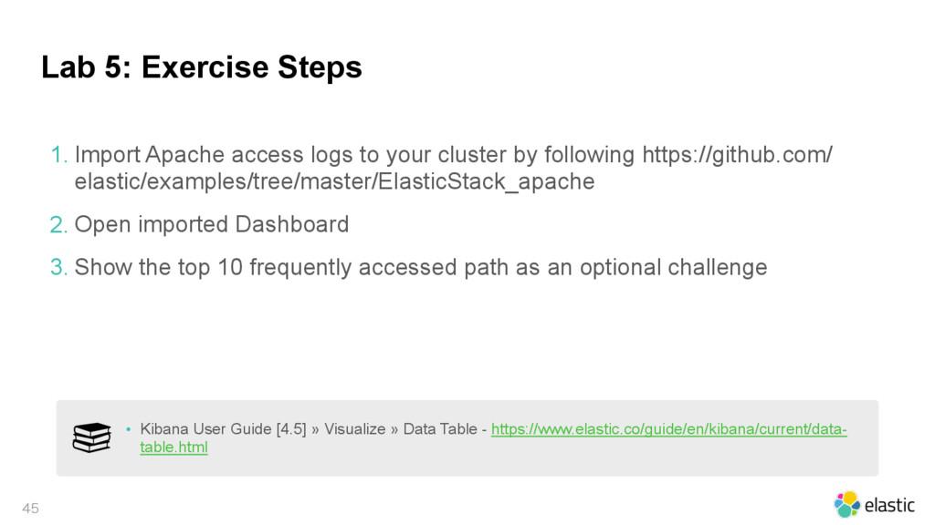 Lab 5: Exercise Steps  1. Import Apache acces...