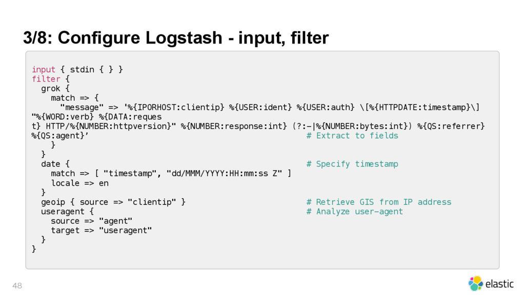 3/8: Configure Logstash - input, filter  inpu...