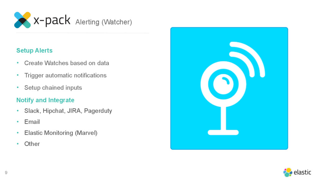 9 Setup Alerts • Create Watches based on data •...