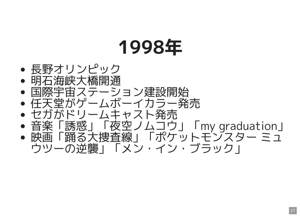 1998年 1998年 長野オリンピック 明石海峡大橋開通 国際宇宙ステーション建設開始 任天...