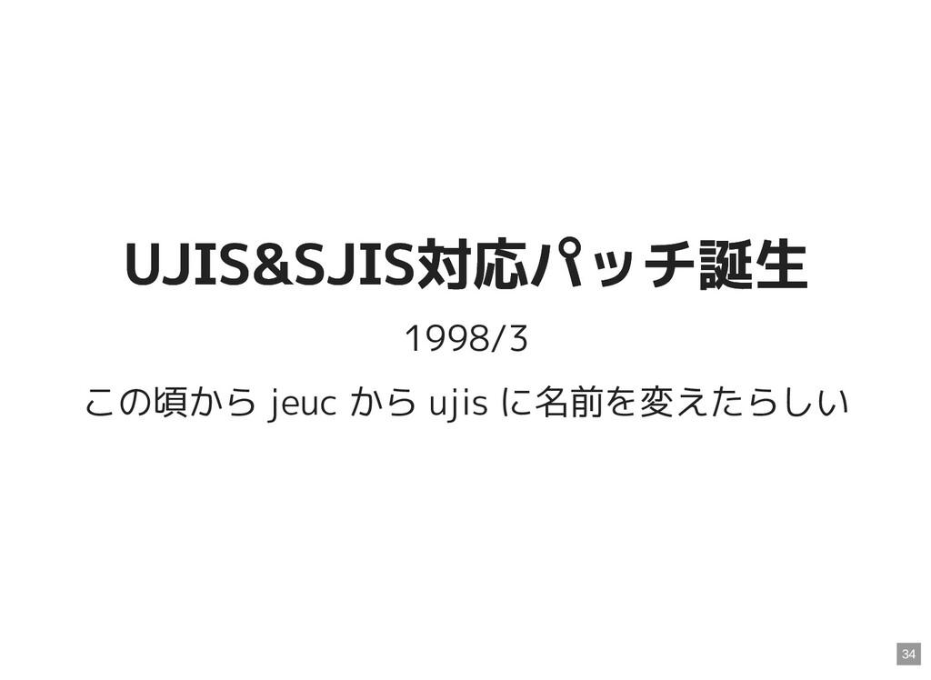 UJIS&SJIS対応パッチ誕生 UJIS&SJIS対応パッチ誕生 1998/3 この頃から ...
