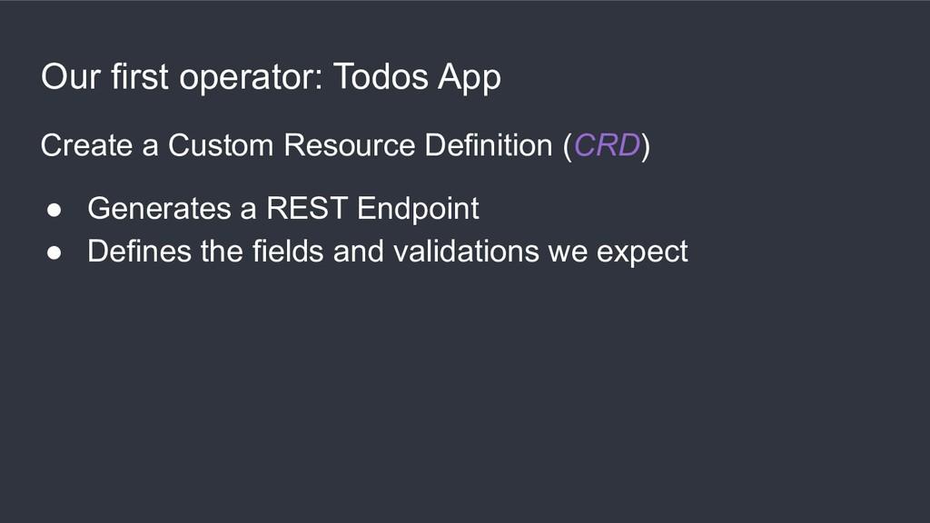 Our first operator: Todos App Create a Custom R...