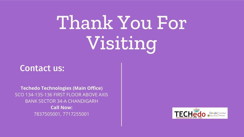 Thank You For Visiting Contact us: Techedo Tech...