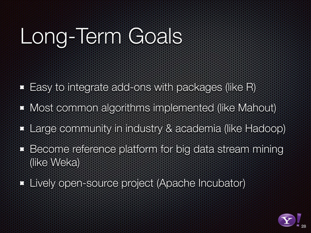 Long-Term Goals Easy to integrate add-ons with ...