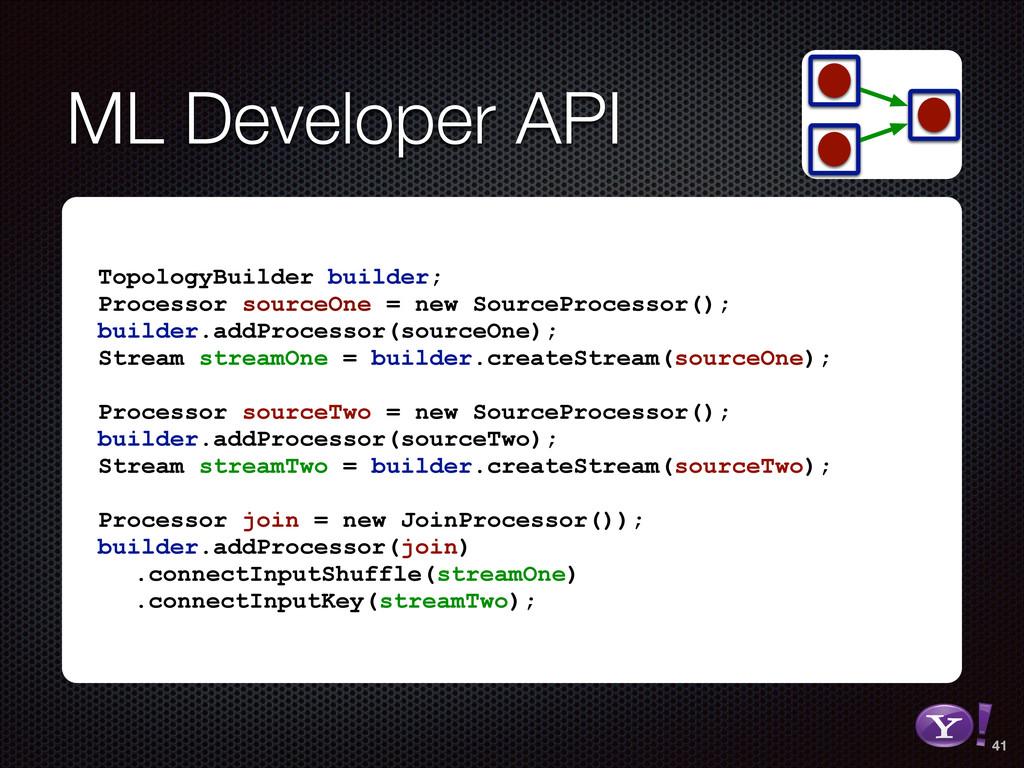 ML Developer API TopologyBuilder builder; Proce...