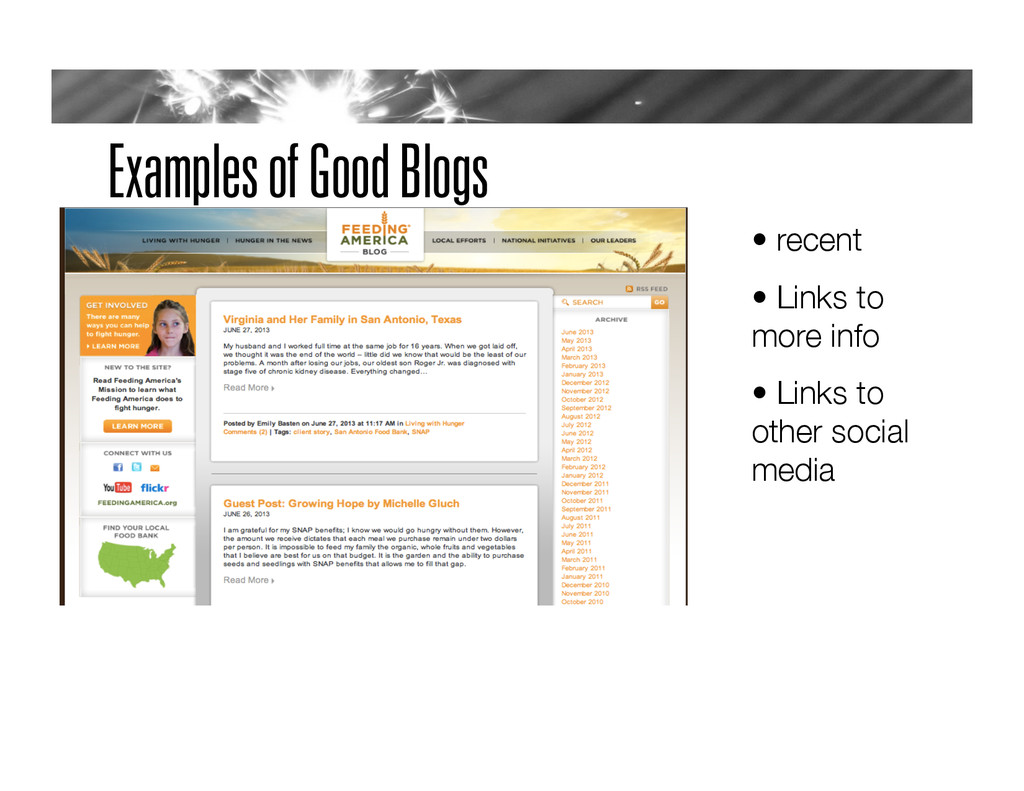 Examples of Good Blogs •  recent
