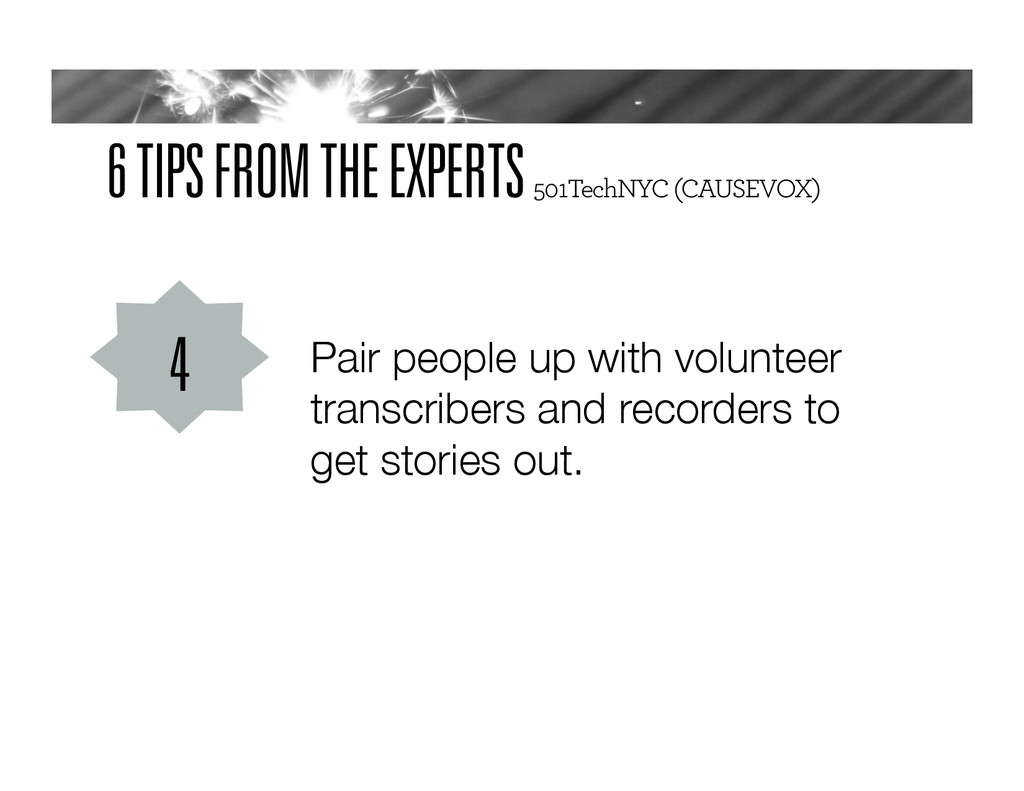 6 TIPS FROM THE EXPERTS 501TechNYC (CAUSEVOX) P...