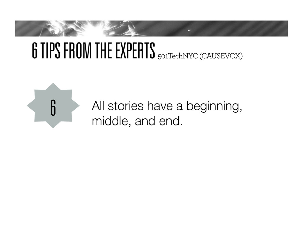 6 TIPS FROM THE EXPERTS 501TechNYC (CAUSEVOX) A...