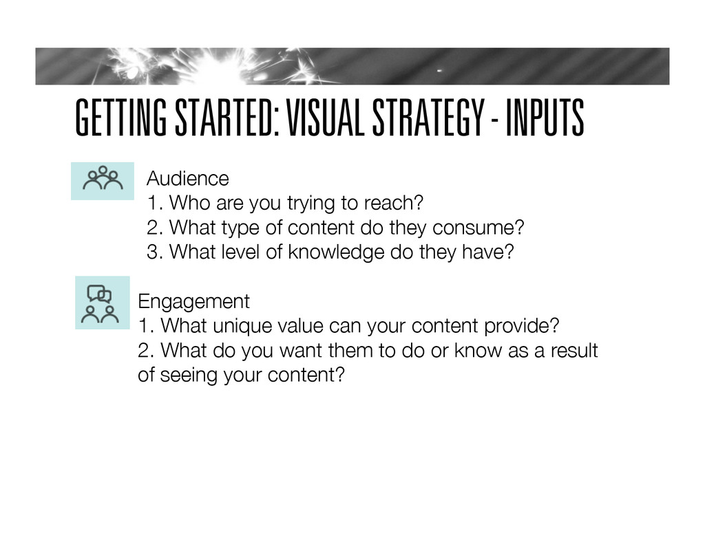 GETTING STARTED: VISUAL STRATEGY - INPUTS Audie...