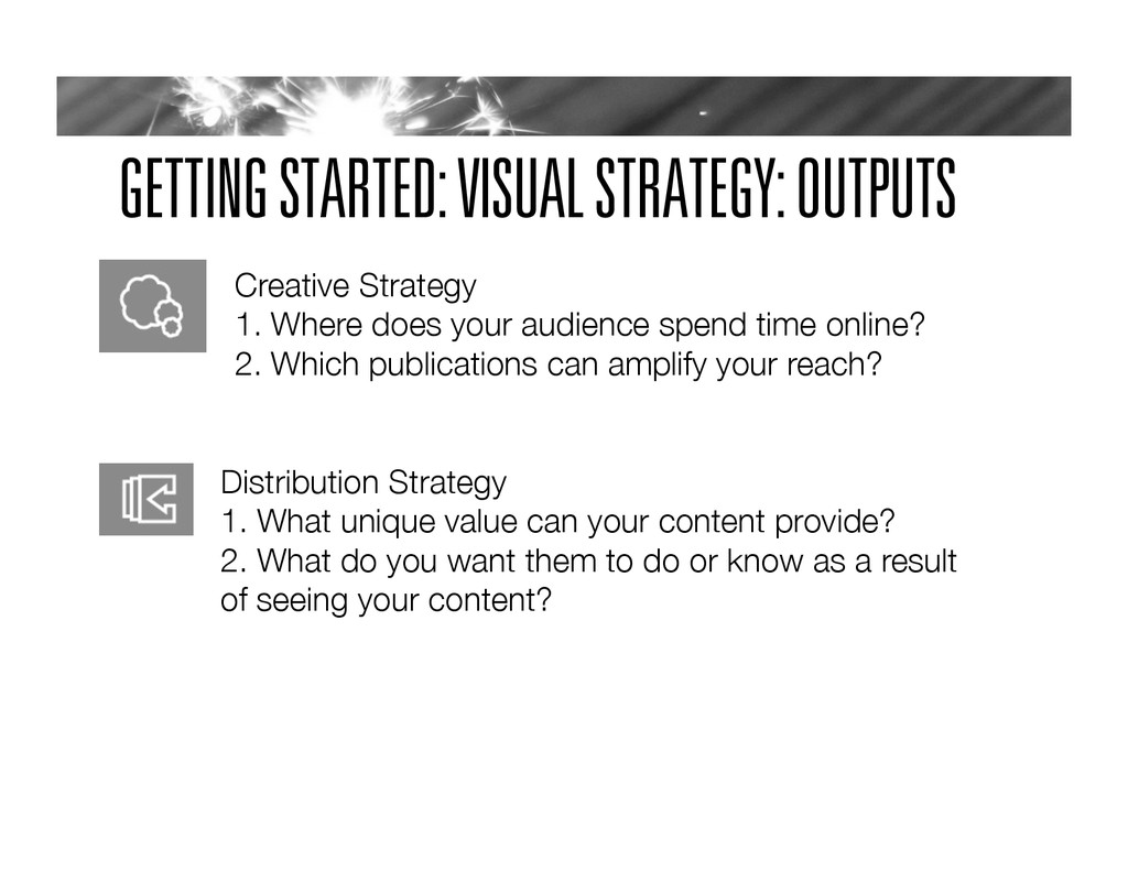 GETTING STARTED: VISUAL STRATEGY: OUTPUTS Creat...