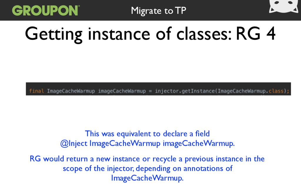 Getting instance of classes: RG 4 This was equi...