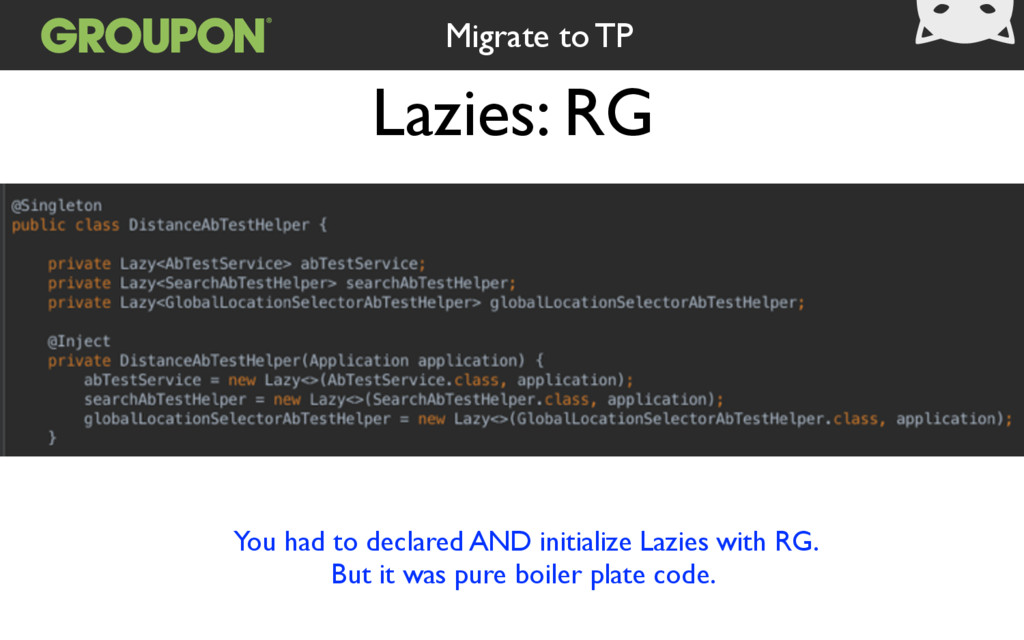 Lazies: RG Migrate to TP You had to declared AN...