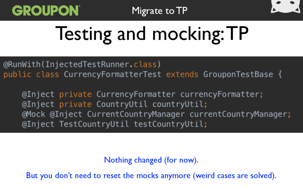Testing and mocking: TP Migrate to TP Nothing c...