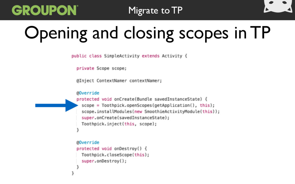 Opening and closing scopes in TP Migrate to TP