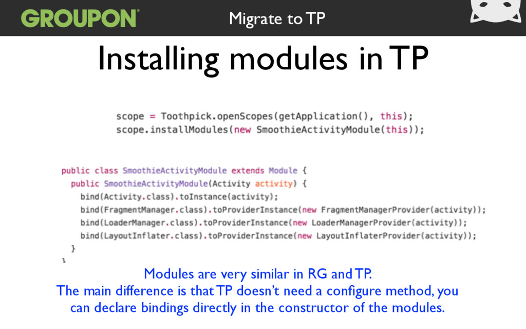 Installing modules in TP Modules are very simil...