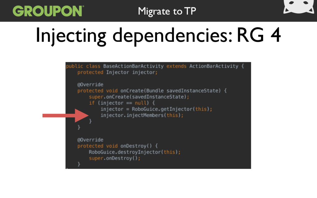 Injecting dependencies: RG 4 Migrate to TP