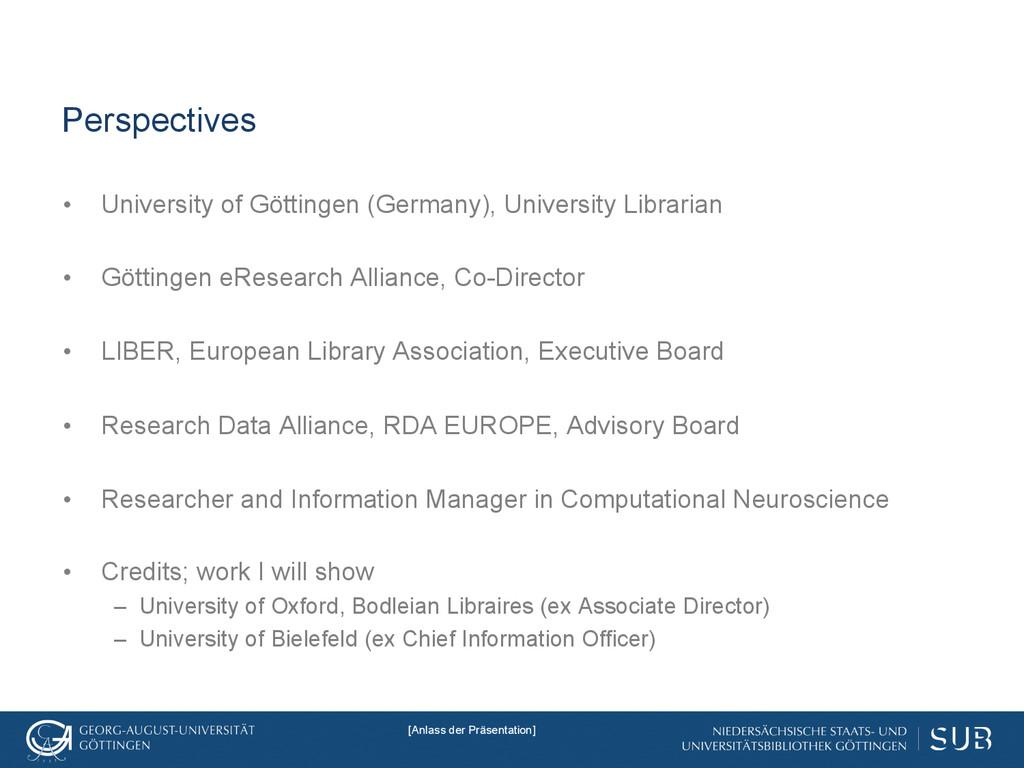 Perspectives • University of Göttingen (German...