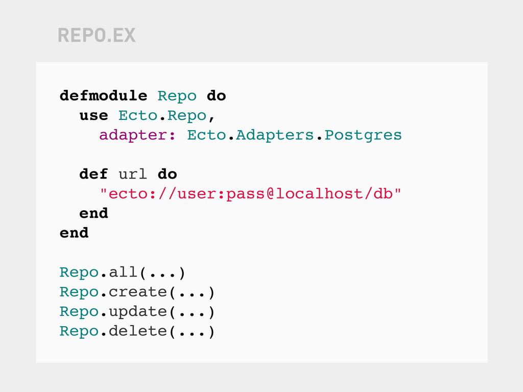 defmodule Repo do use Ecto.Repo, adapter: Ecto....