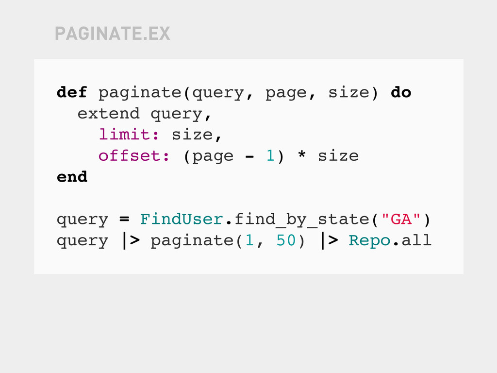 def paginate(query, page, size) do extend query...
