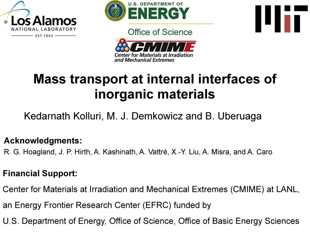Mass transport at internal interfaces of inorga...