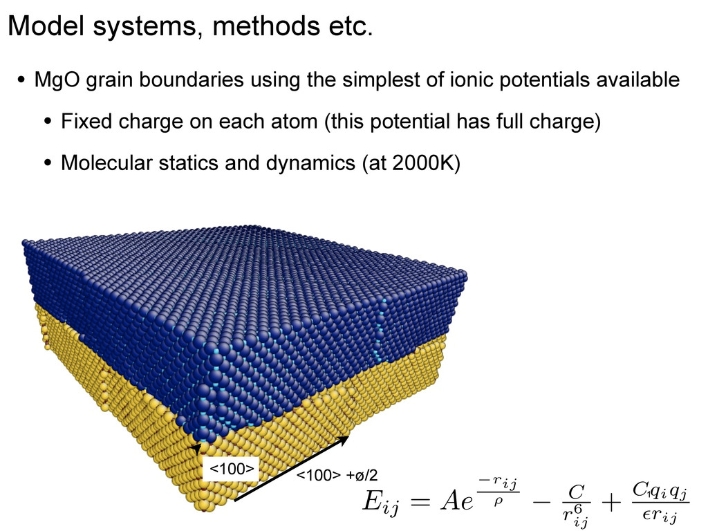 Model systems, methods etc. 1 nm • MgO grain bo...
