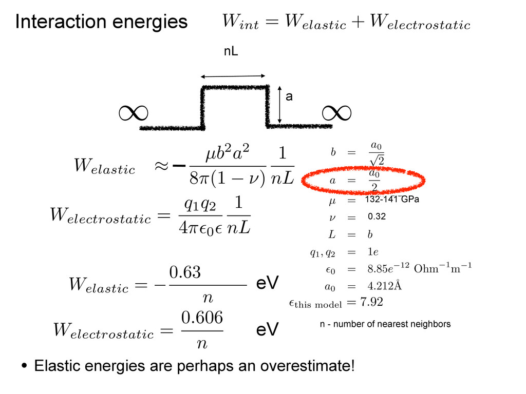 Interaction energies W int = W elastic + W elec...