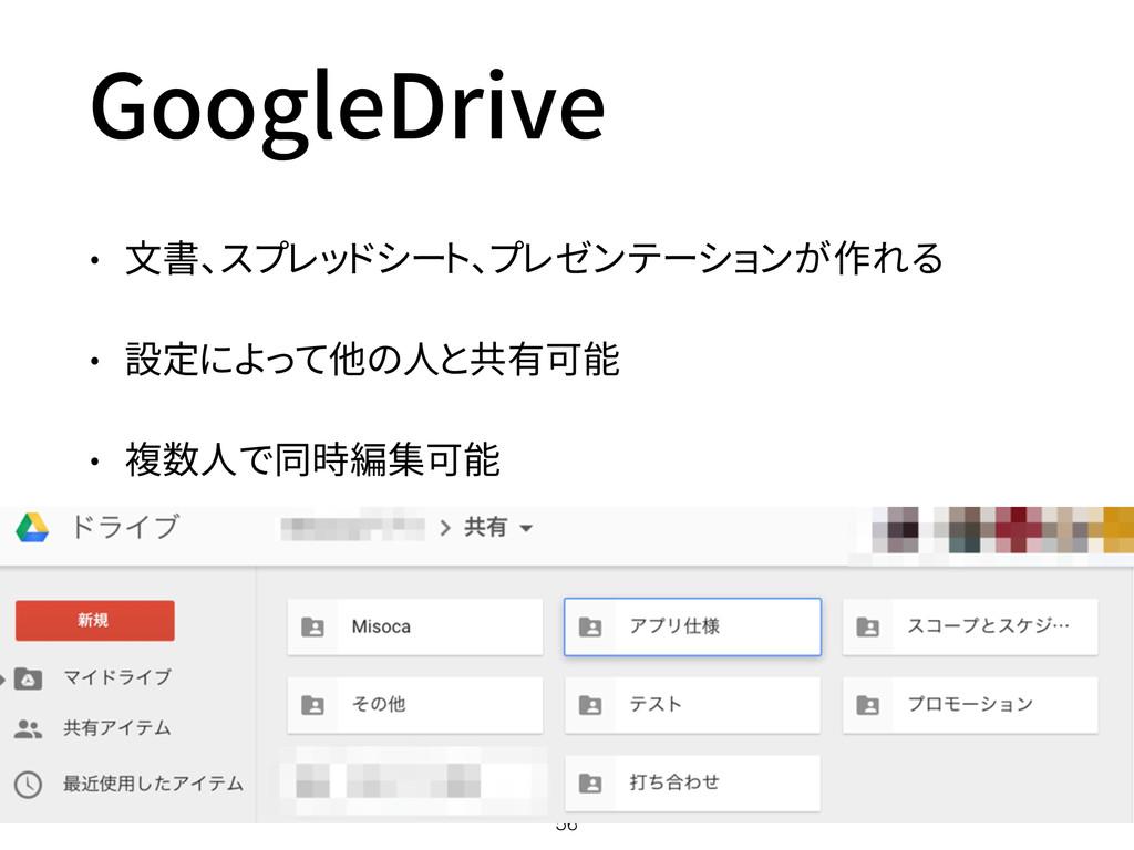 GoogleDrive • 文書、スプレッドシート、プレゼンテーションが作れる • 設定によっ...