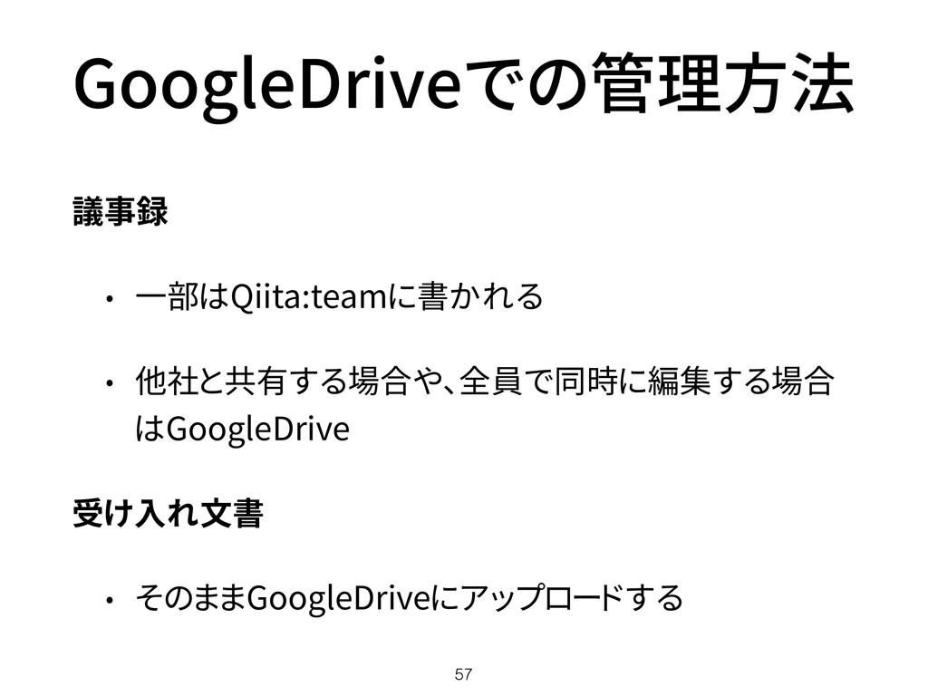 GoogleDriveでの管理方法 議事録 • 一部はQiita:teamに書かれる • 他社...