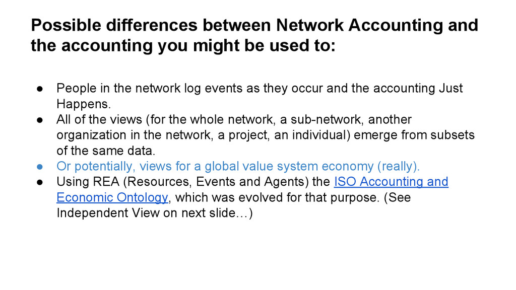 Possible differences between Network Accounting...