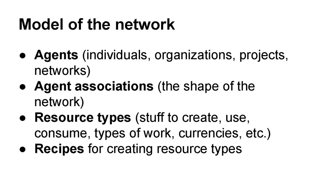 Model of the network ● Agents (individuals, org...