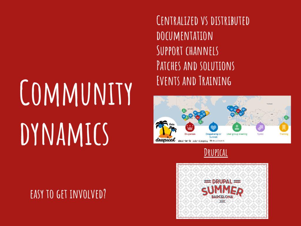 Community dynamics Centralized vs distributed d...