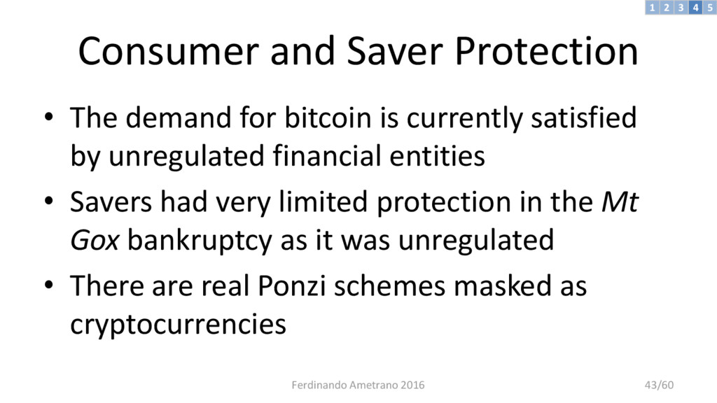 Consumer and Saver Protection • The demand for ...