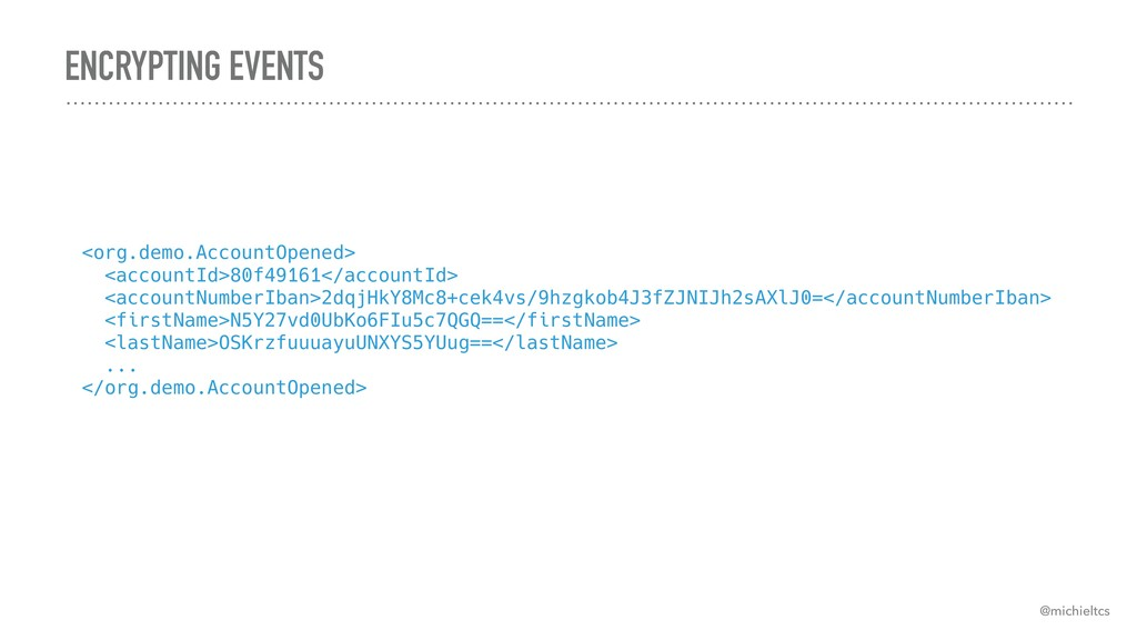 ENCRYPTING EVENTS @michieltcs <org.demo.Account...