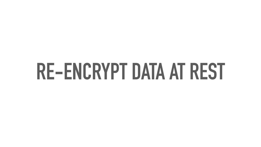RE-ENCRYPT DATA AT REST