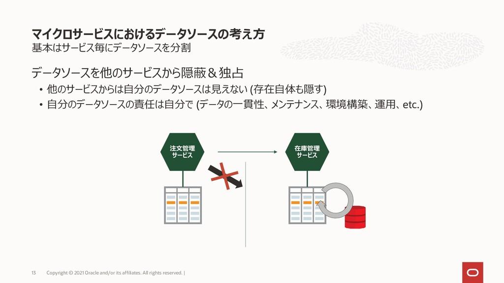 基本はサービス毎にデータソースを分割 データソースを他のサービスから隠蔽&独占 • 他のサービ...