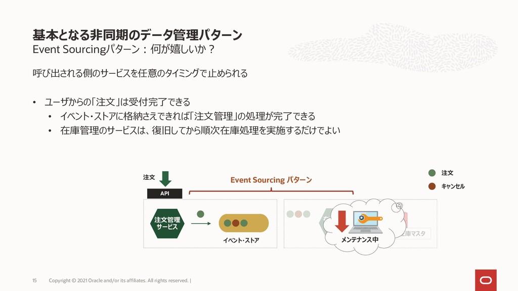 Event Sourcingパターン:何が嬉しいか? 呼び出される側のサービスを任意のタイミン...