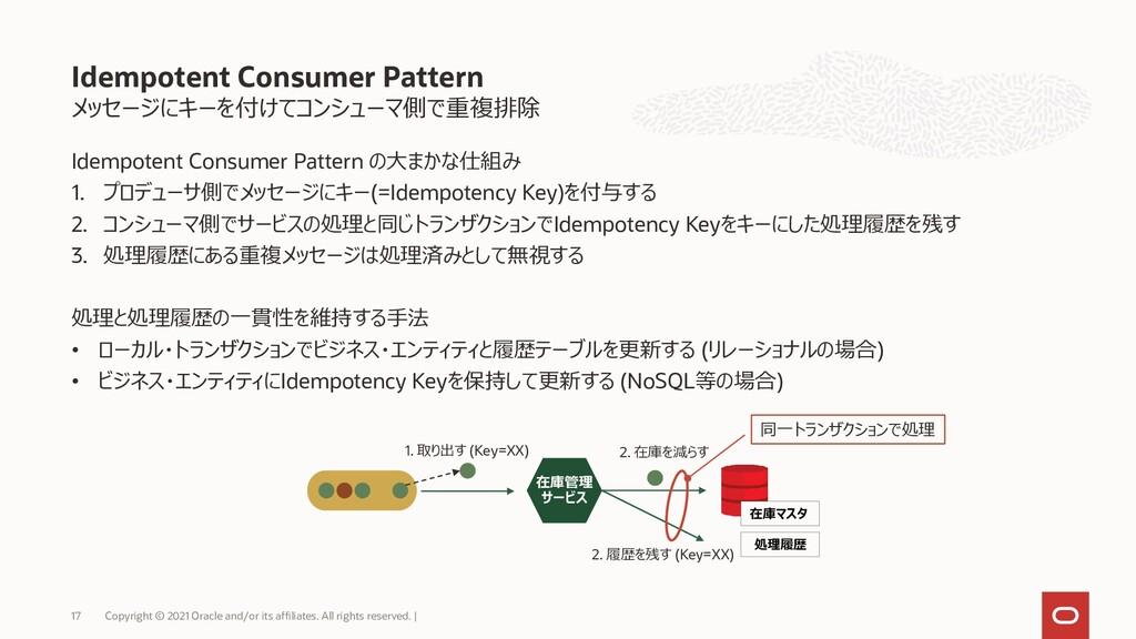 メッセージにキーを付けてコンシューマ側で重複排除 Idempotent Consumer Pa...