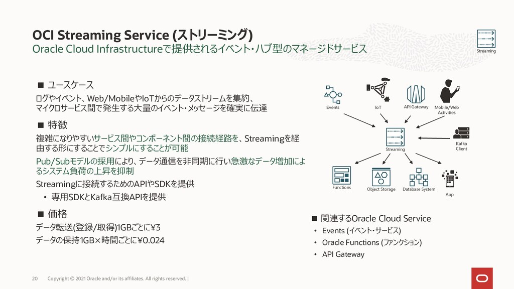 Oracle Cloud Infrastructureで提供されるイベント・ハブ型のマネージド...